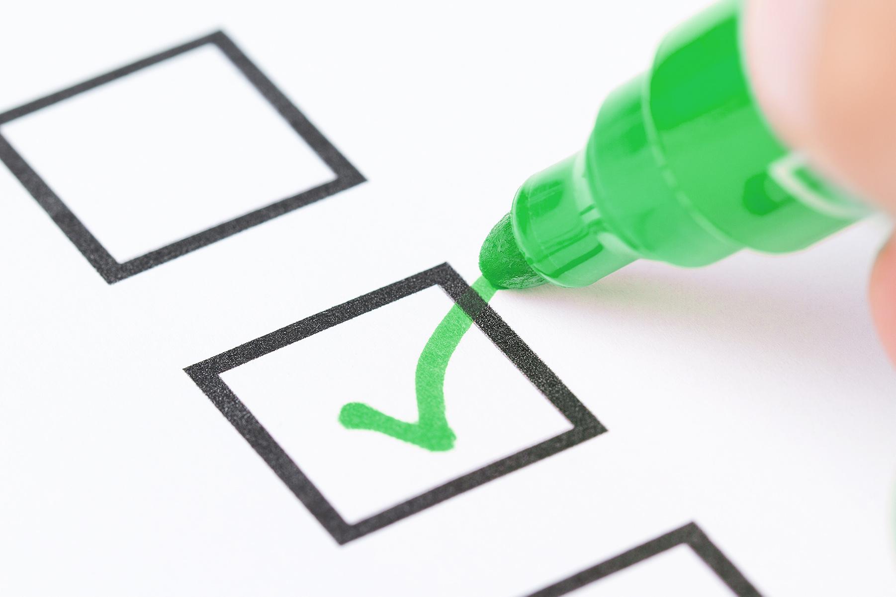 Checking an item off a checklist