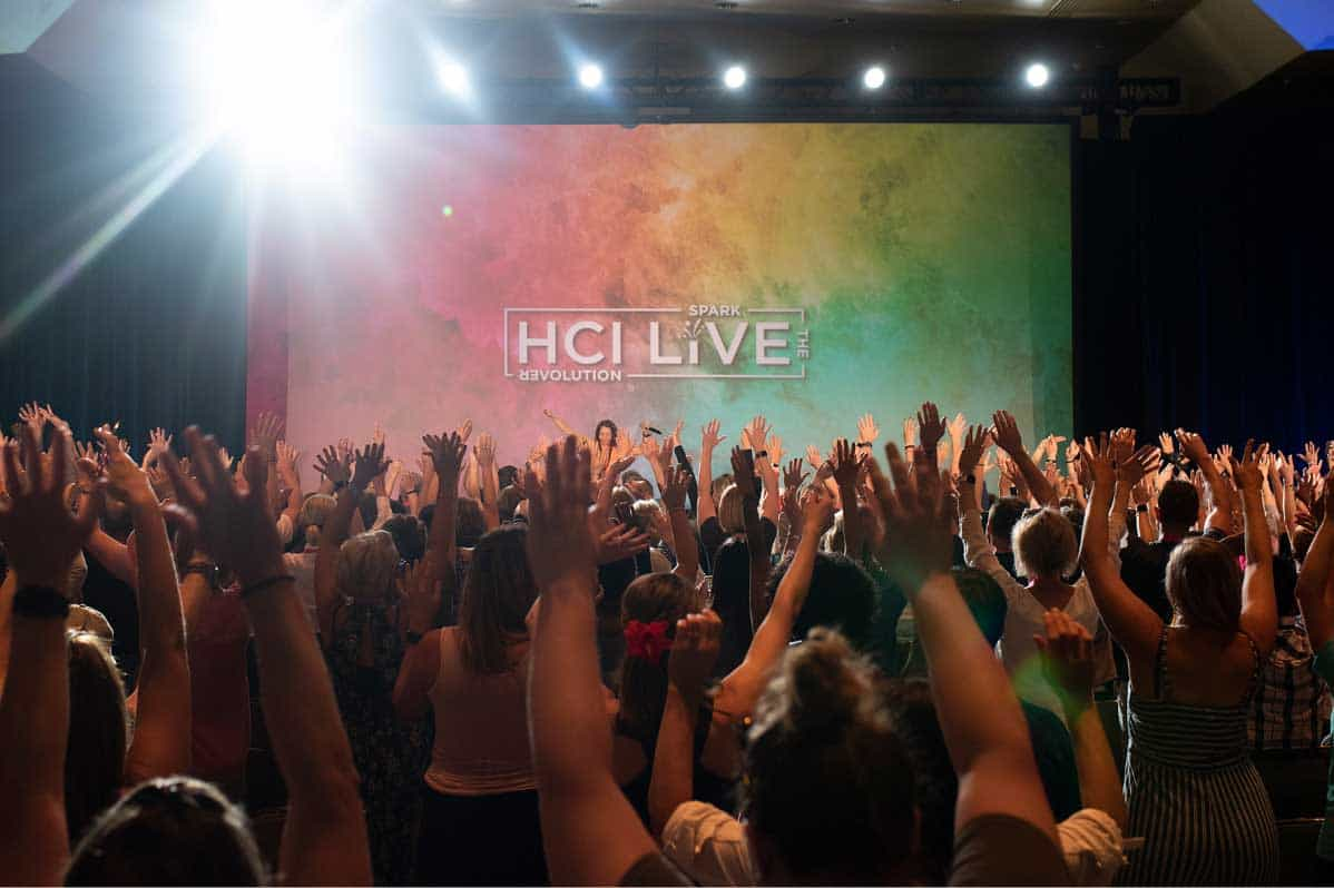 A jubilant crowd of heart warriors at HCI Live